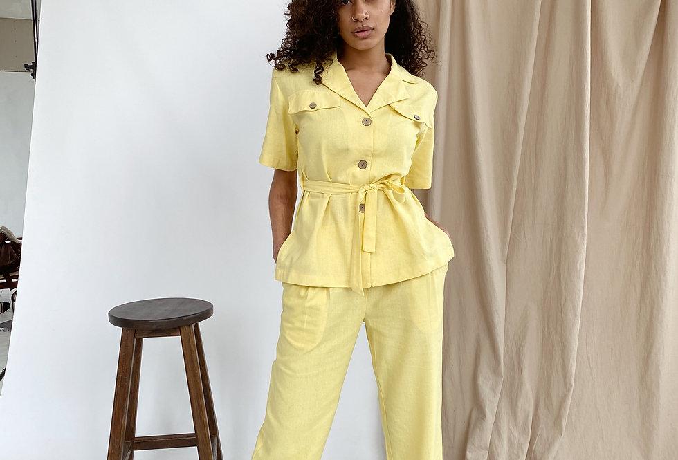 Костюм лен рубашка и брюки желтый