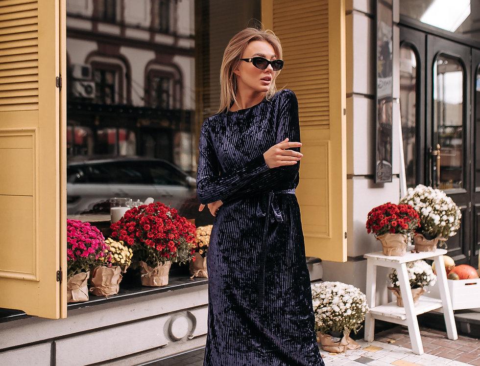 Платье велюровое синее