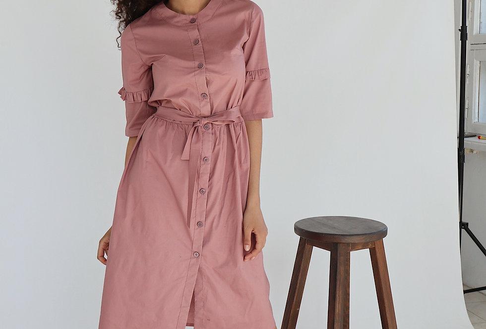 Платье из хлопка с рюшами на рукавах розовый