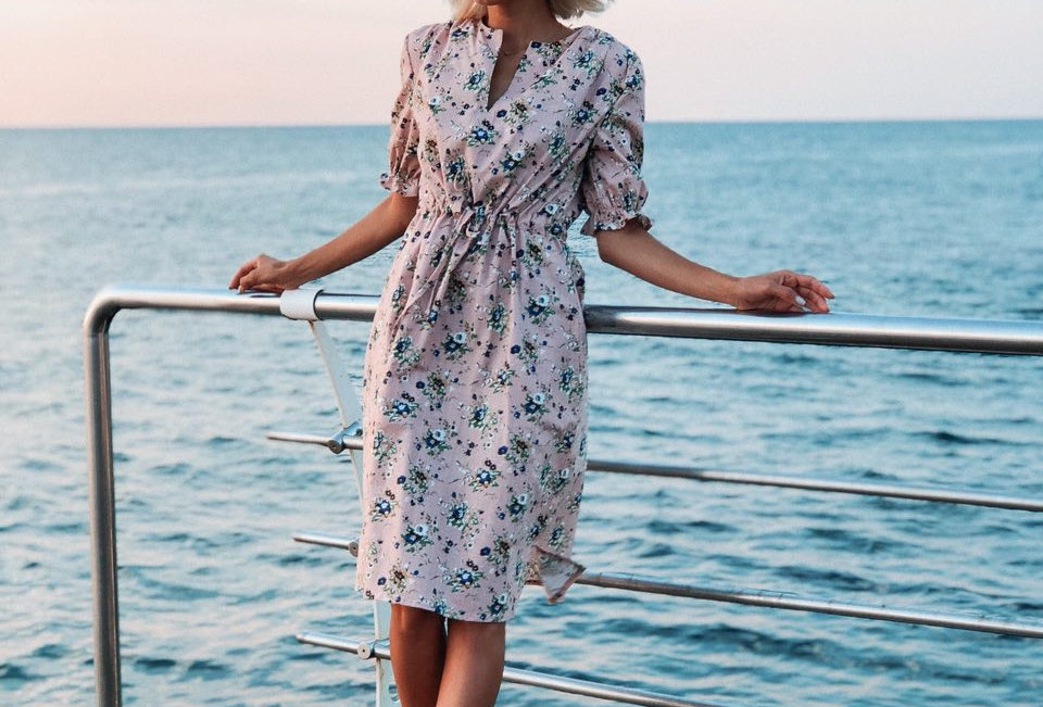 Платье изо льна Кулиска бежевое
