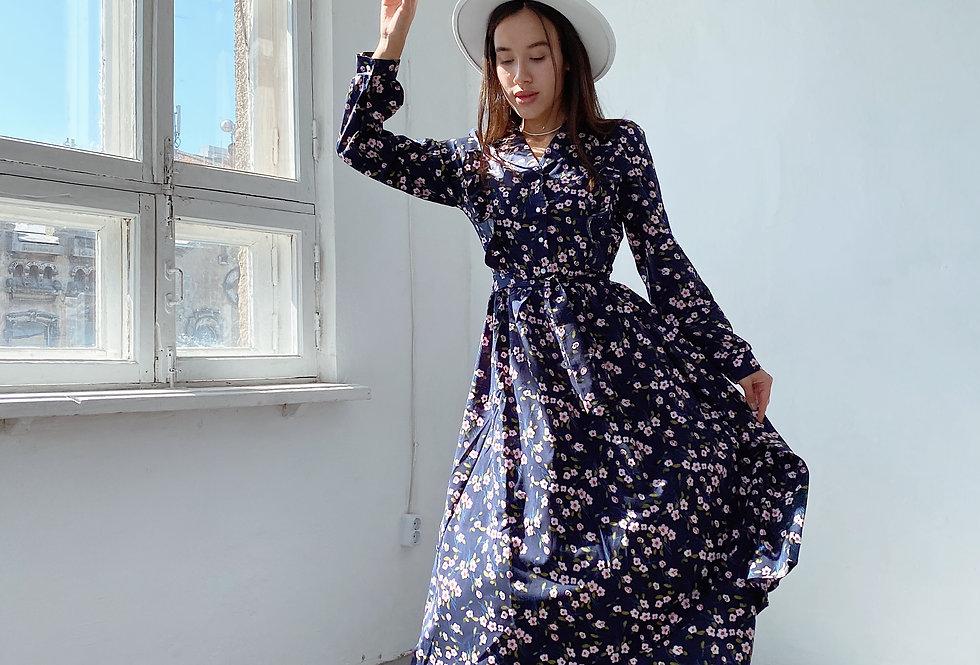 Платье софт с воланом синий