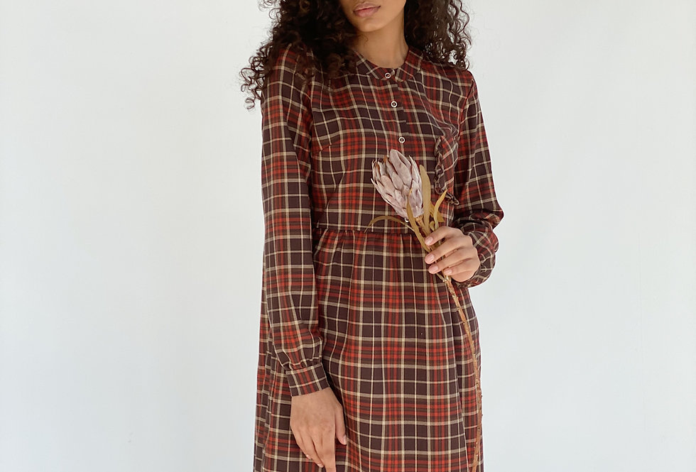 Платье Карман Рюш коричневое