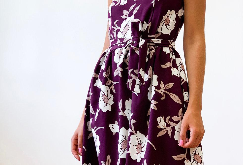 Платье Колокольчик в яркий цветочный принт бирюза