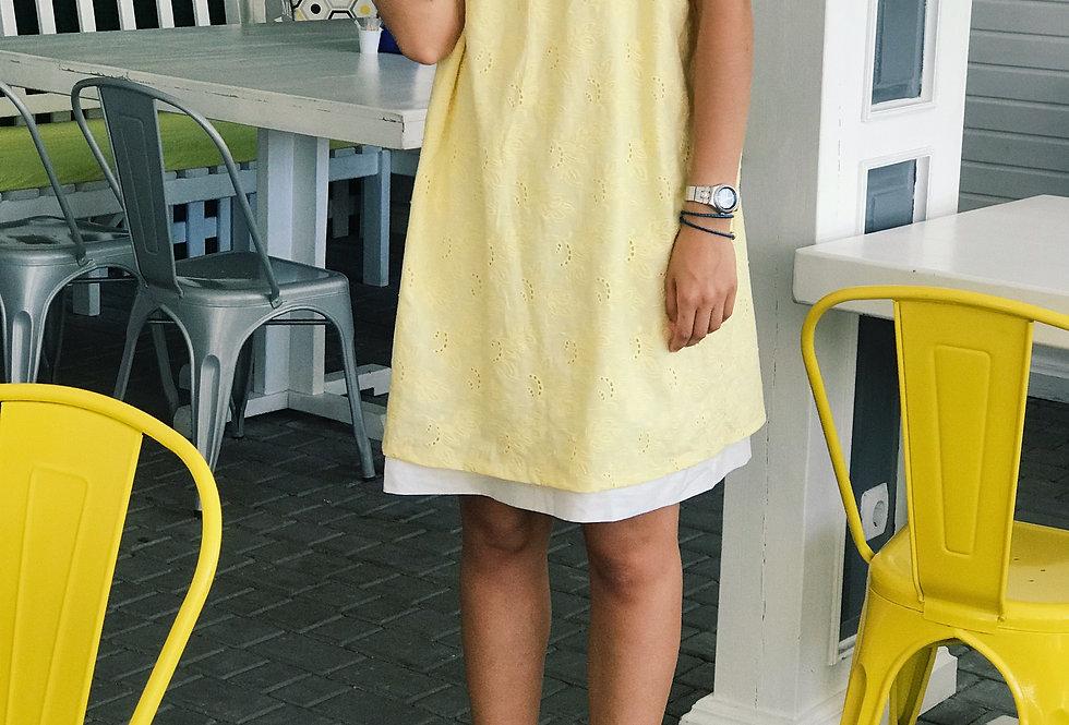 Сарафан Прошва Оверсайз на белом подкладе лимон