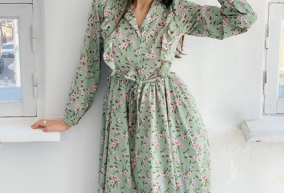 Платье софт с воланом бирюза