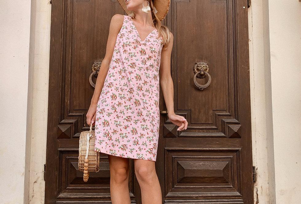 Сарафан лен с рельефами ровного кроя цветочный принт розовый