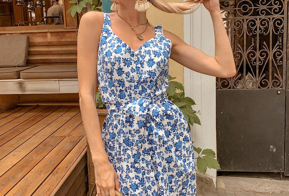 Сарафан х\б пуговицы синие цветы