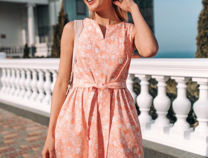 Платье Колокольчик джинсовое с карманами персик