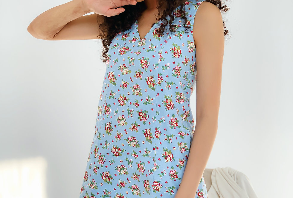 Сарафан лен с рельефами ровного кроя цветочный принт голубой