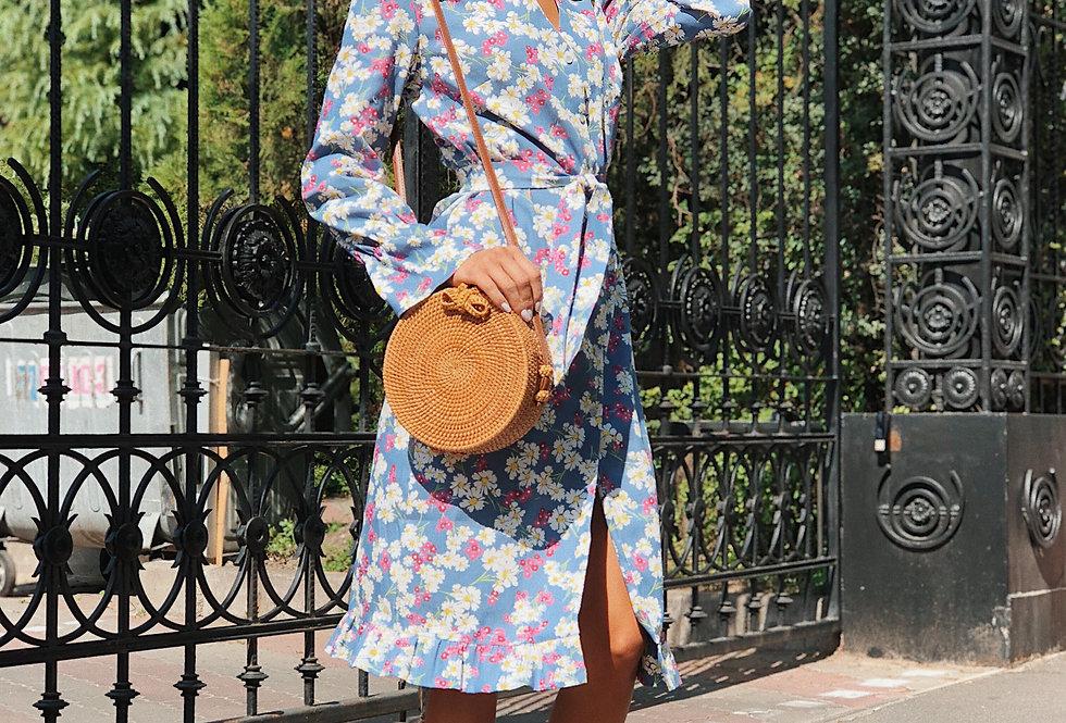 Платье джинсовое с рюшами крупная ромашка