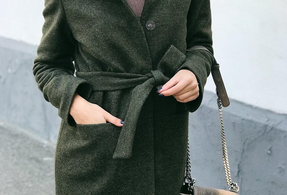 Пальто зимнее Стойка хаки