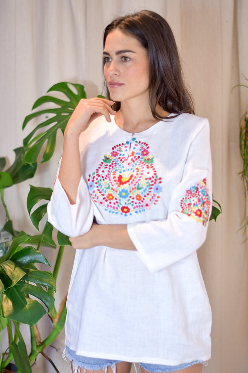 S-M / 100% Linen hand embroidery blouse