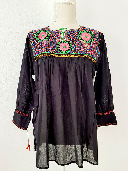 One size black bohemian french knot gauze cotton blouse