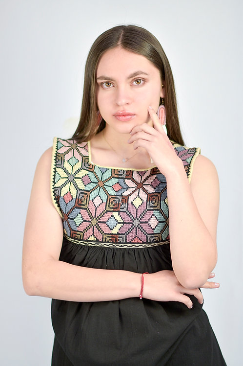 S-M/ Bohemian black dress/ Cross Stitch
