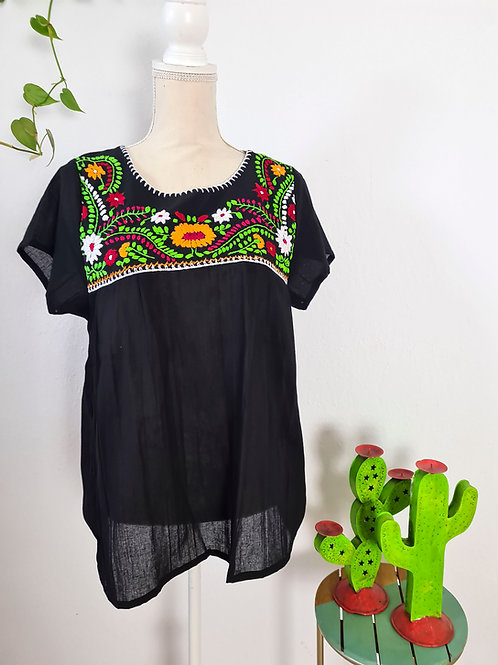 M-L Black Tehuacán Boho Top