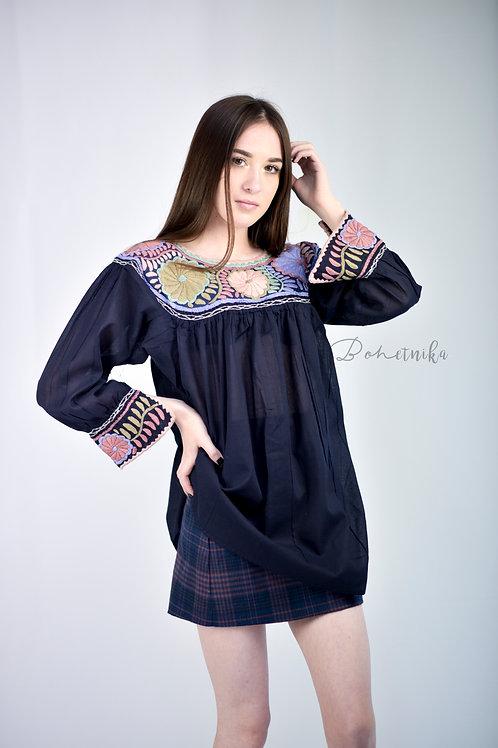 One Size/ Boho flower blouse / Navy blue