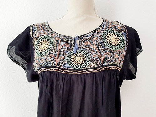 XL/ French Knot black embroidered dress