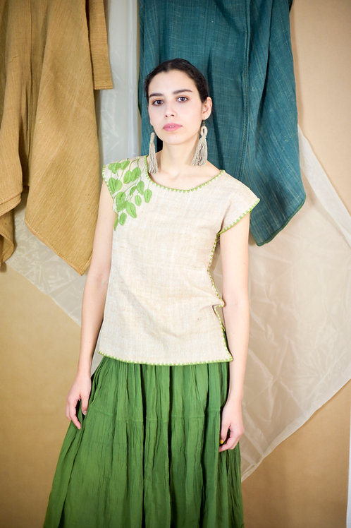 "S-M/ Blouse ""Hojas"" / Hand Embroidery"