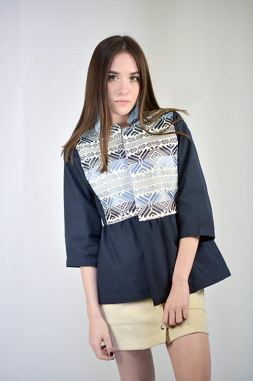 S-M/ Navy Blue Cardigan / Hand woven details