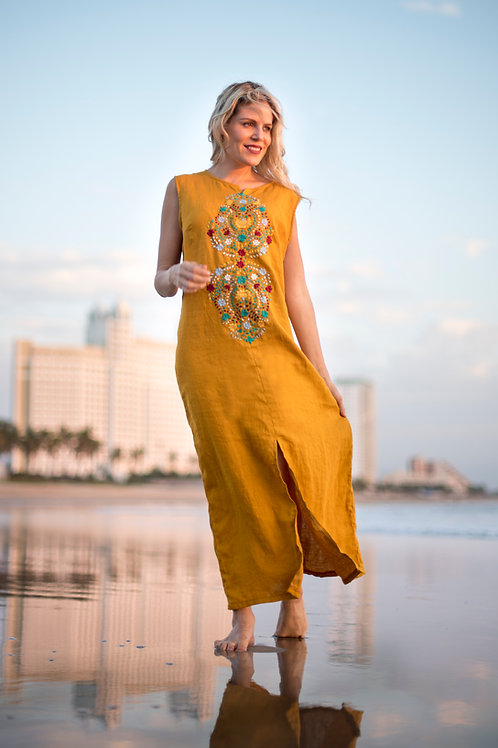 M/ 100% linen hand embroidered dress / Mustard