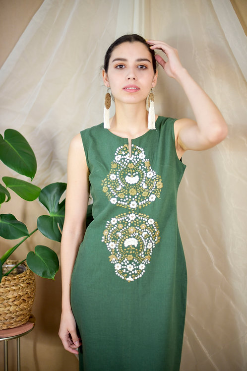 S-M / Hand embroidered Green dress