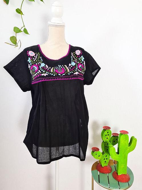 M-L Black Tehuacán Boho Top