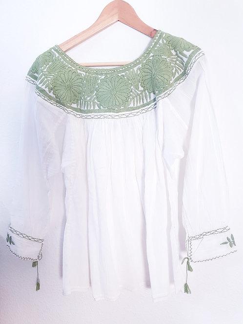 One Size bohemian gauze cotton blouse