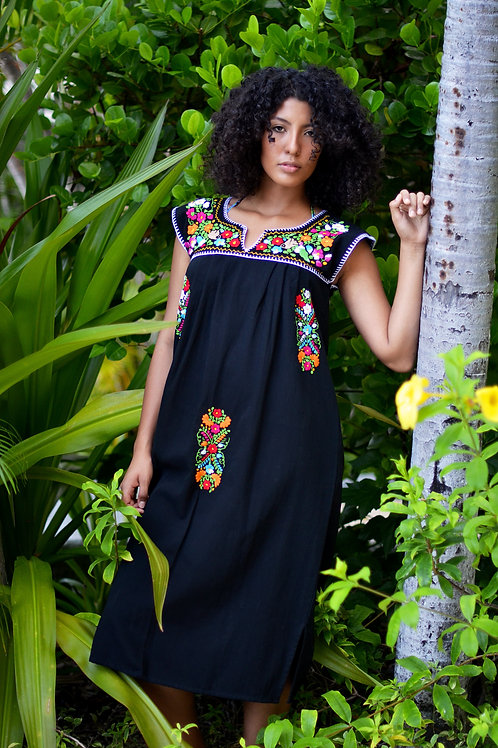 Large Black/ Tehuacán Boho dress
