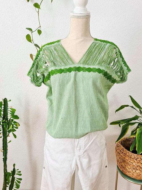 L / Green Zinacantán huipil/ 100% Hand Woven