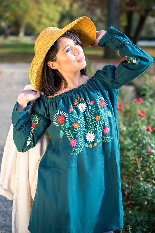 S-M/ 100% linen hand embroidery dress