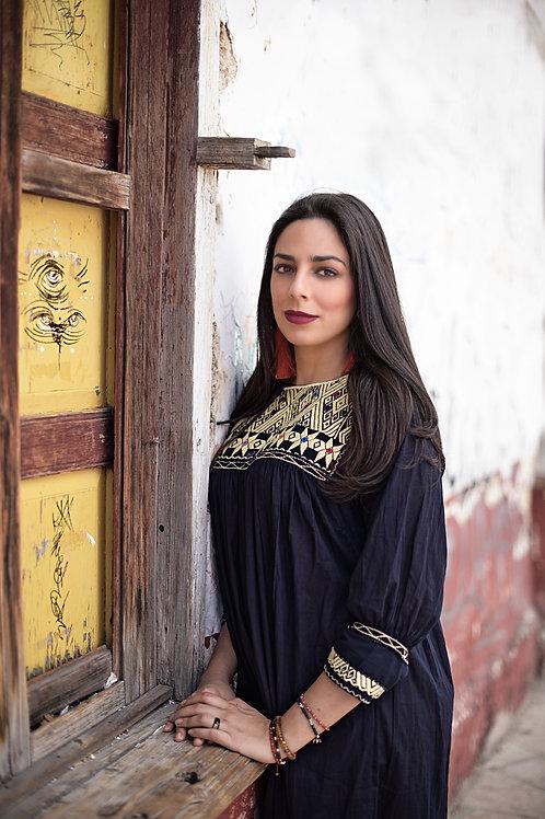 Small black San Andrés blouse (3/4 sleeve)