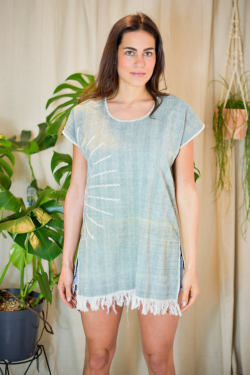 "M /""Sol"" huipil / Organic Cotton + Verde natural dyed"