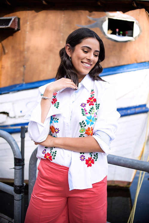 Hand embroidered cotton blouse
