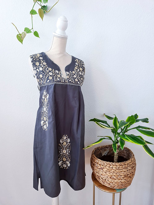 Smoke Gray Tehuacán Boho dress