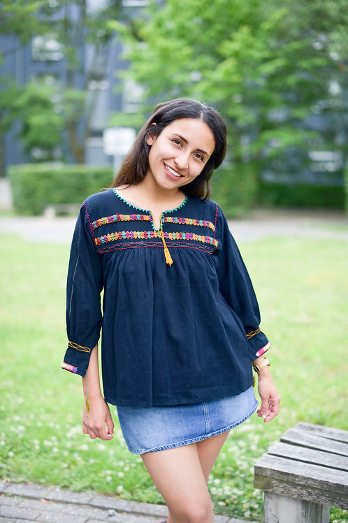 S-M/ Navy blue bohemian blouse
