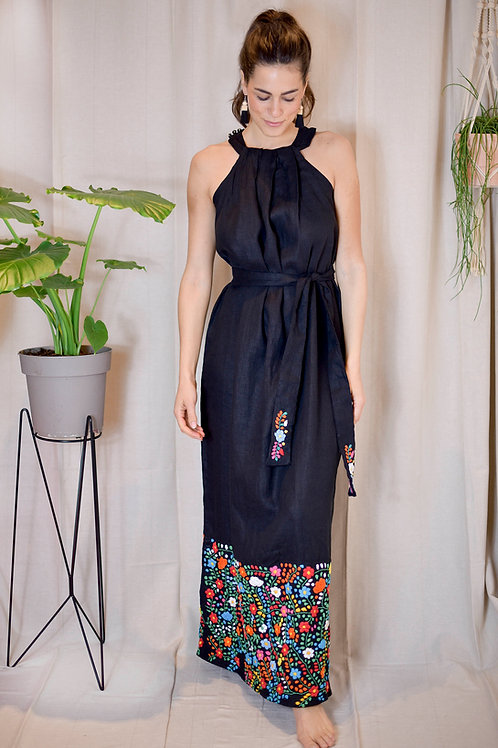 100% linen hand embroidery dress