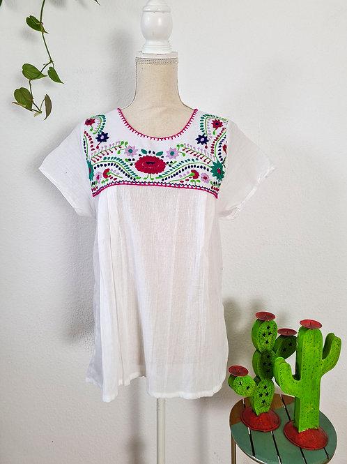 M-L  White Tehuacán Boho Top