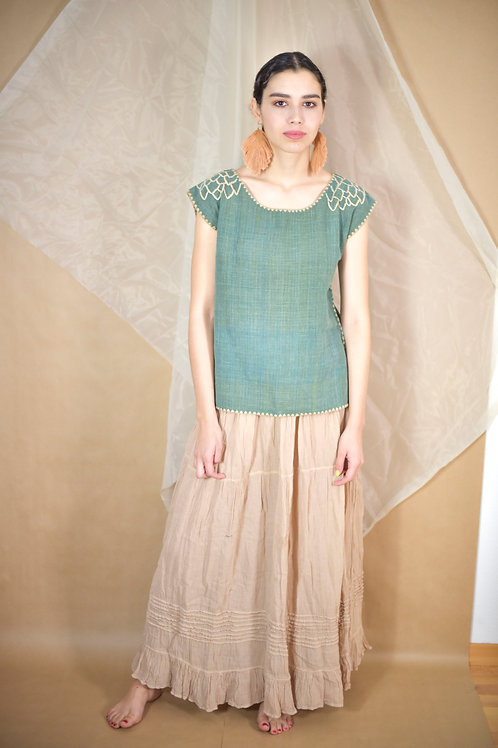 """S-M/ Blouse """"Hojas"""" / Hand Embroidery"""