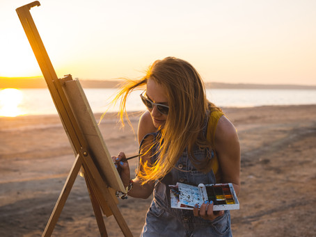 PAINTING AT SUNSET