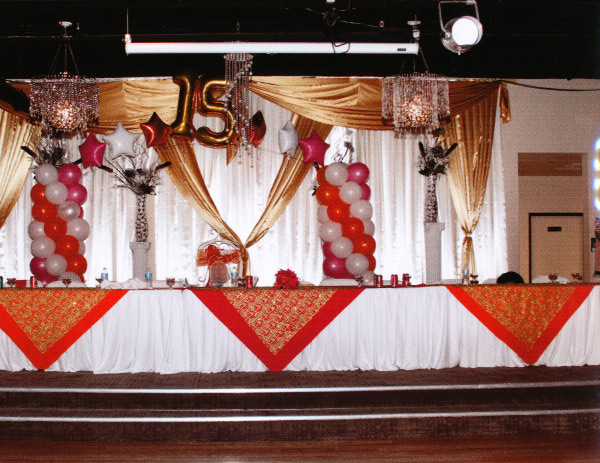 Gold and red Quinceanera party