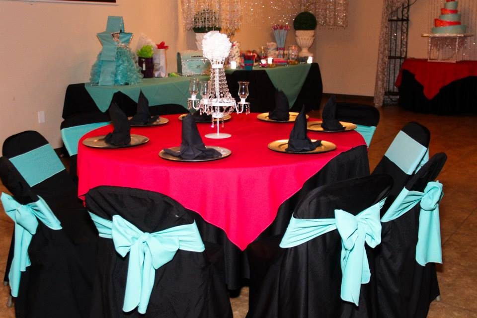 Balck and baby blue decorations