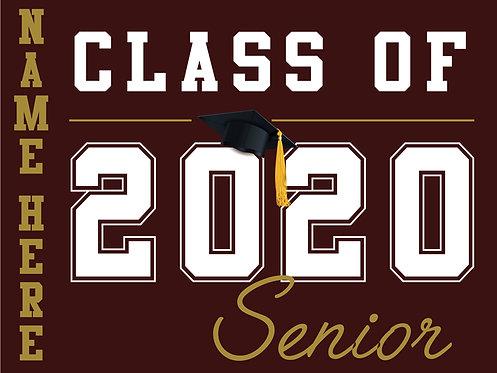 Kinney HS - Senior 2020 with name (Burgundy)