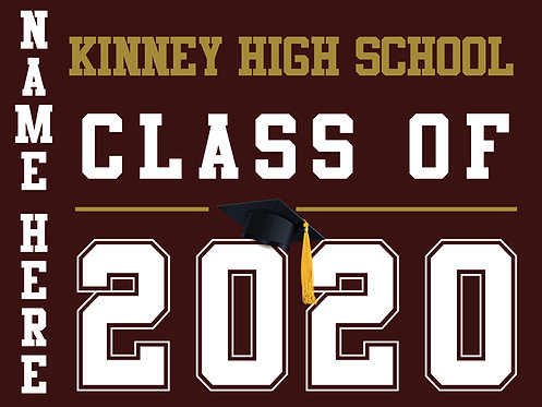 Kinney HS - Class of 2020 with name (Burgundy)
