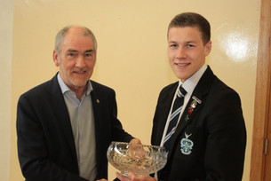 Mickey Harte presenting first place in t