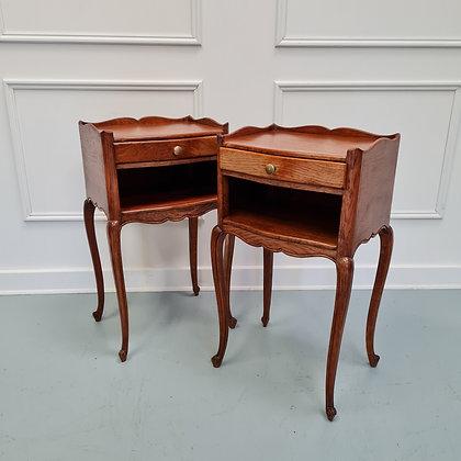 French Oak Bedside Tables c1930