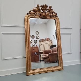 Antique French Gilded Cherub Mirror C1870