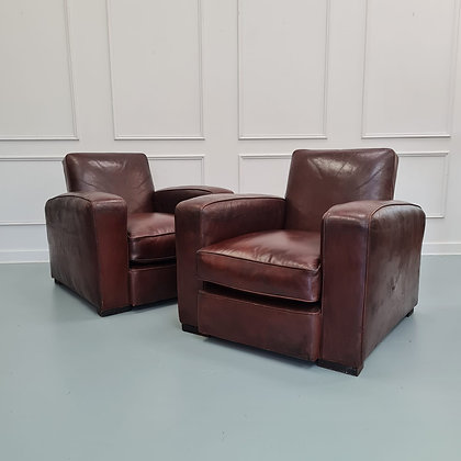 Pair of French Art Deco Club Armchairs c1930