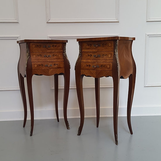 Marquetry Bombe Shaped Bedside cabinets C1930