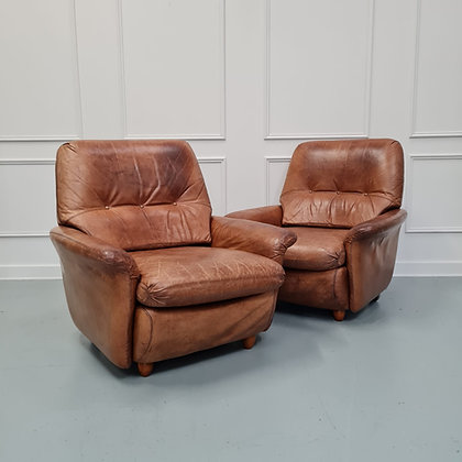 Pair of Vintage French Leather Guermonprez Armchairs