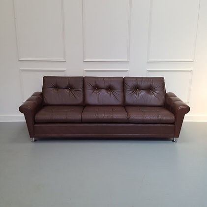 Vintage 1960s Danish Leather Sofa